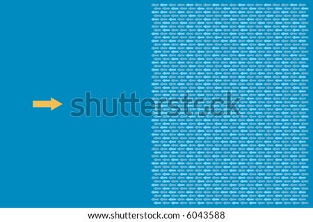 one arrow facing a group of  arrows - stock vector