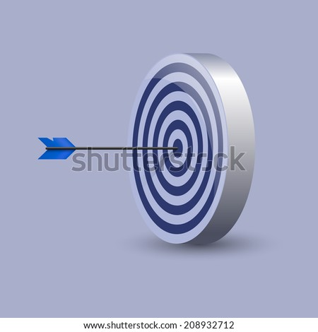 One arrow hit the center of a blue target. Excellence concept for business or marketing purpose. Vector illustration, eps 10.