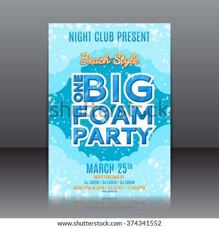 One Big Foam Party Flyer Template Stock Photo Photo Vector