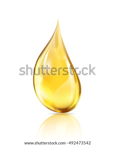 One big yellow drop on white background with shadow