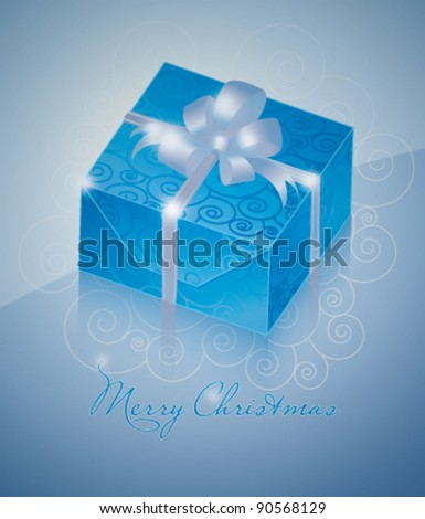 One blue gift box with silver ribbon - stock vector
