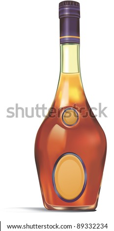 one bottle of alcoholic beverage - stock vector