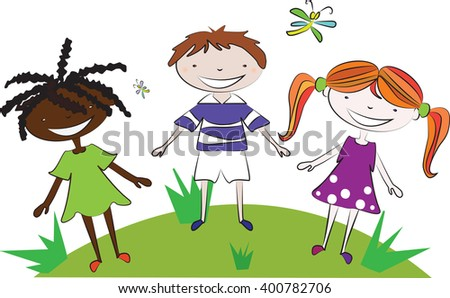 One boy and two girls, a black girl, a girl with red hair and boy walking on the meadow holding hands. Vector illustration on white background isolated. Children vector. Friendship vector. - stock vector