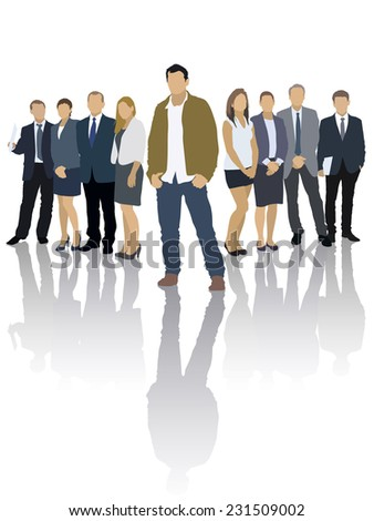 One businessman in front of a group of people - stock vector