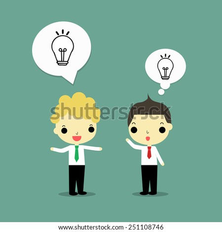 one businessman talk about lightbulb as idea to share for another businessman.