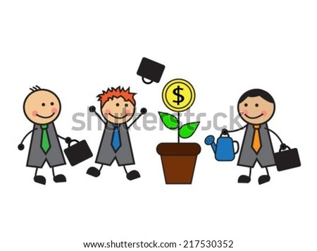 one businessman watering a money tree, and other businessmen looking and happy - stock vector