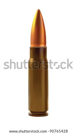 One cartridges for the automatic weapons isolated on a white background