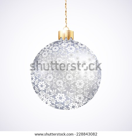 One Christmas silver ball with pattern on white background  - stock vector