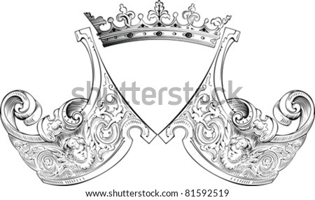 One Color Crown Heraldry Composition - stock vector