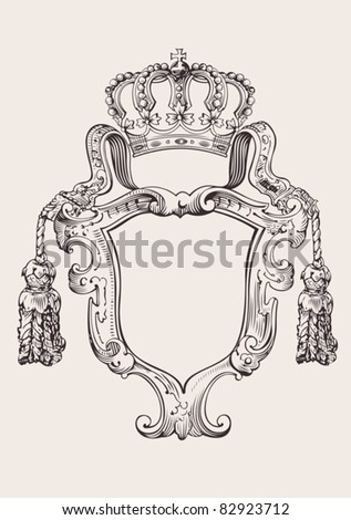 One Color Crown Insignia Isolated - stock vector
