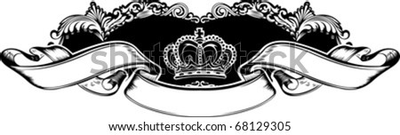 One Color Royal Crown Vintage Curves Banner - stock vector