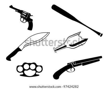 One color vector illegal crime set isolated on the white background - stock vector
