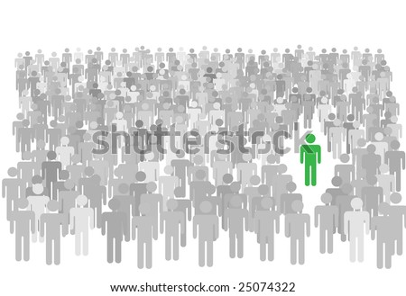 One colorful individual person stands out from large diverse crowd of gray symbol people.