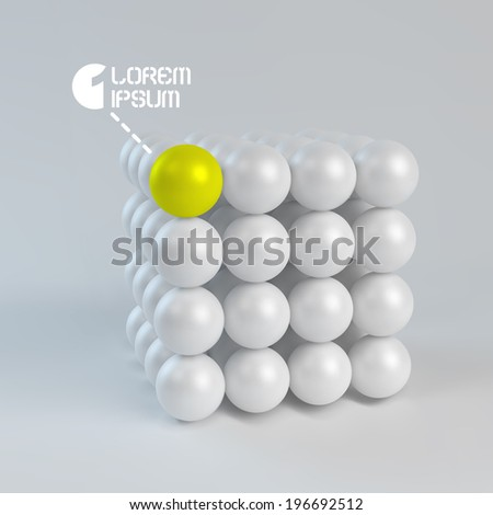 One cube formed by many spheres. 3d vector illustration. - stock vector