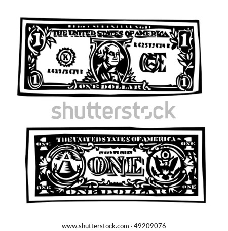 one dollar bill - stock vector