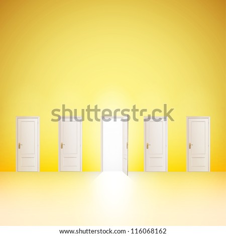 One door open and the others closed. Vector design. - stock vector