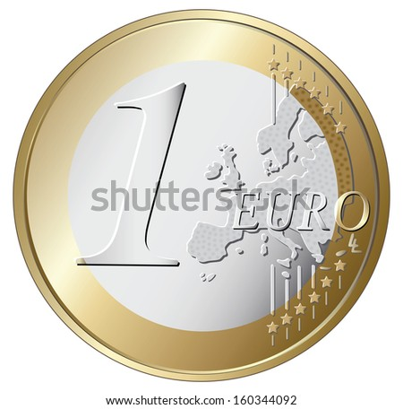 one euro coin vector illustration isolated on white background - stock vector