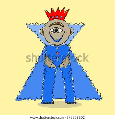 one eyed monster prince. hand drawn vector cartoon illustration
