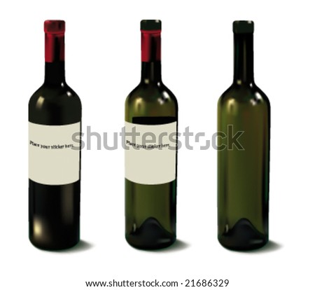 One full and two empty red wine bottles. Relistic vector image. - stock vector