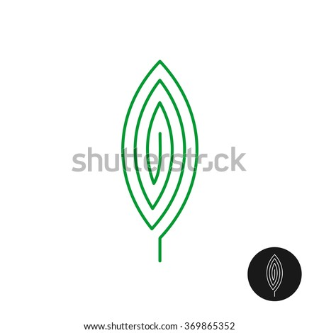 One green leaf linear style logo. Maze mystery spirit concept. - stock vector