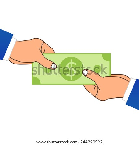 One Hand Giving A Money. Vector Illustration - stock vector