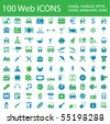 One hundred different highly detailed vector Icons for Web Applications. Media, Medical, Party, Hotel and Travel. - stock vector