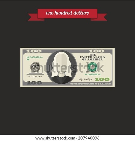 One hundred dollars. Flat style design - vector - stock vector