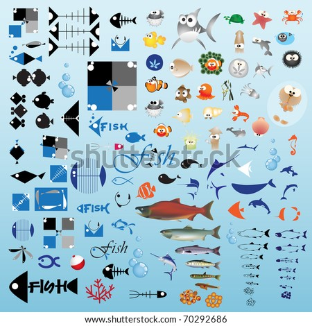 One hundred fish icon - Part 1 (Vector) - stock vector