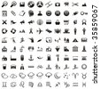 one hundred fully editable vector web icons with details ready to use - stock vector