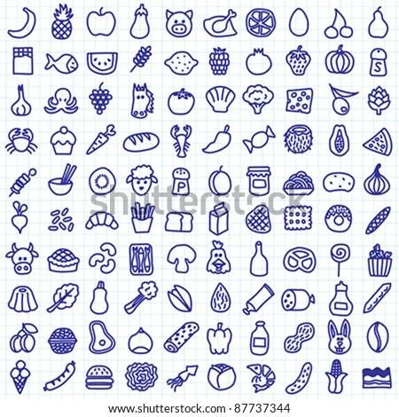 one hundred hand drawn food icons - stock vector