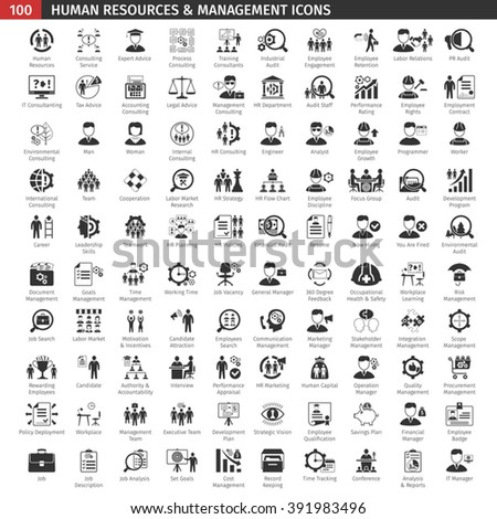 One Hundred Human Resources Black Icons Set. - stock vector