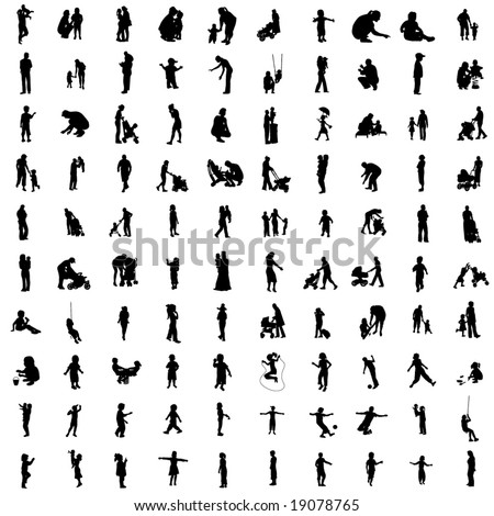 One hundred isolated silhouettes of parents and children. - stock vector
