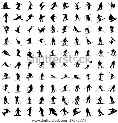 One hundred silhouette of skiers. Downhill racing, a snowboard, children and teenagers in movement. - stock vector