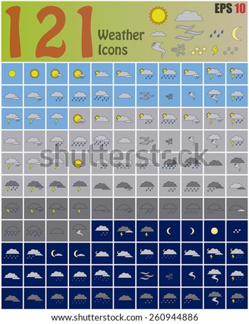 One Hundred Twenty One Weather Icons