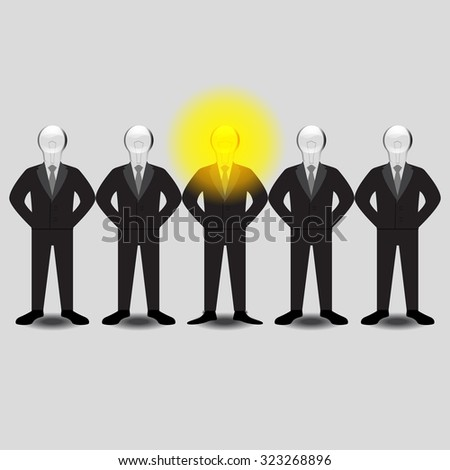 One In Many Businessman Have Bright Idea. Vector Illustration - stock vector