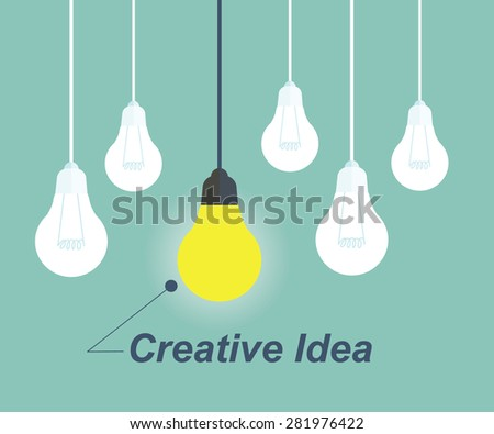One Light bulb turn on. Concept for outstanding or creative idea - stock vector