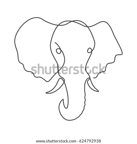 One line drawing an elephant black animal logo isolated on white background