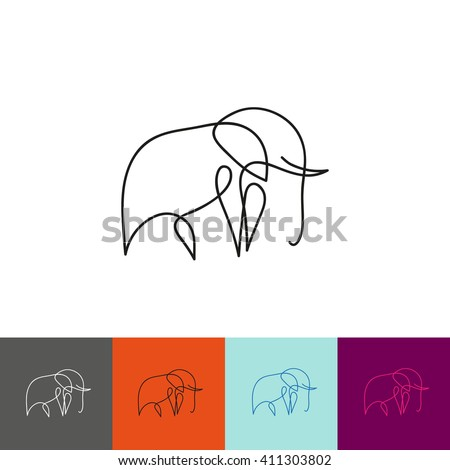 One line elephant design silhouette. Hand drawn minimalism style vector illustration - stock vector