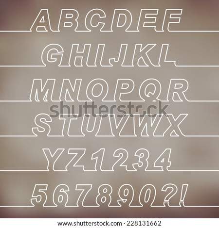One Line Font, latin alphabet letters and arabic numbers - stock vector