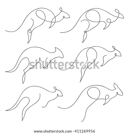 One line kangaroo design silhouette set. Hand drawn minimalism style vector illustration - stock vector