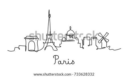 One Line Style Paris City Skyline Simple Modern Minimalistic Vector