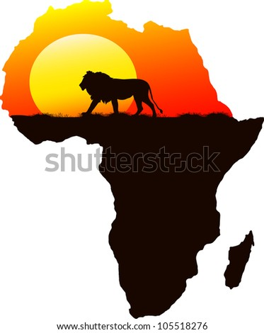 One lion in the background of the setting sun, vector - stock vector