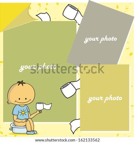 One list of scrapbook - baby sitting on potty (vector) - stock vector