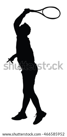 One man tennis player vector silhouette isolated on white background.