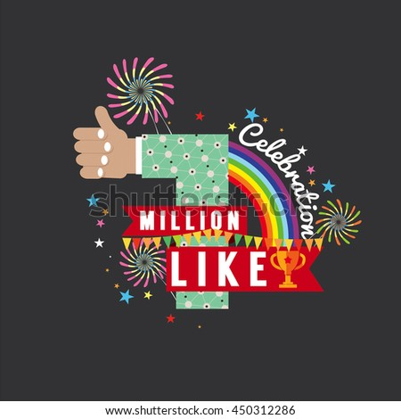 One Million Likes Celebration Vector Illustration