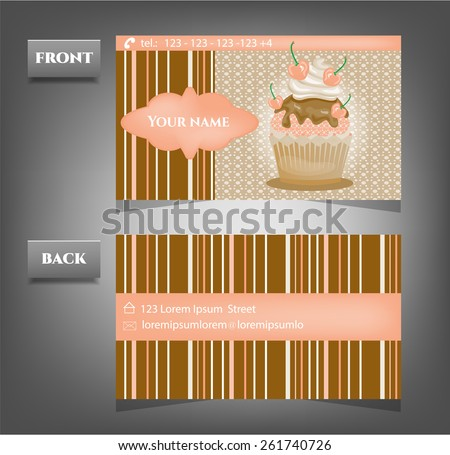 One, modern, business card with romantic cupcake - stock vector