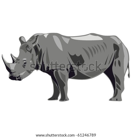 One of the largest land animals of white rhinos in Africa - stock vector