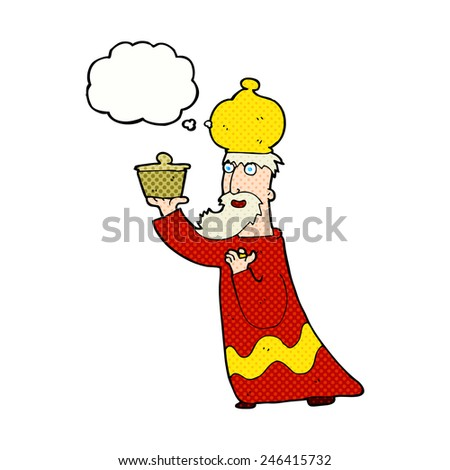 one of the three wise men with thought bubble - stock vector