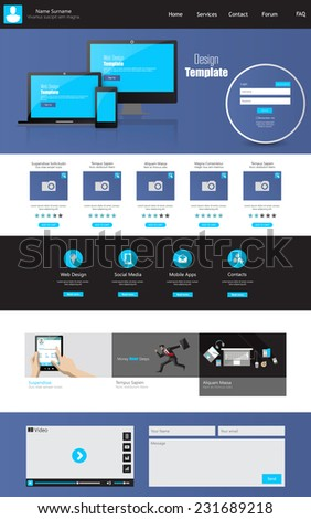 One page business website template home stock vector 231689218 one page business website template home page design clean and simple vector illustration wajeb Choice Image