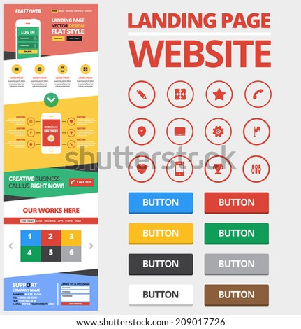 One page design website template made in Flat style. Design including 12 flat icons. - stock vector